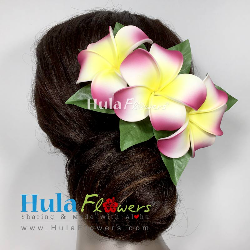 Silk plumeria lei hair clip set hulaflowers lightbox mightylinksfo