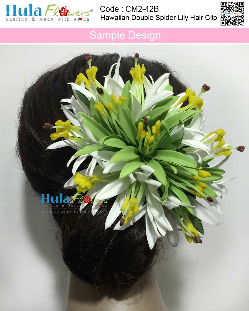 Hawaiian Double Spider Lily Hair Clip Hulaflowers