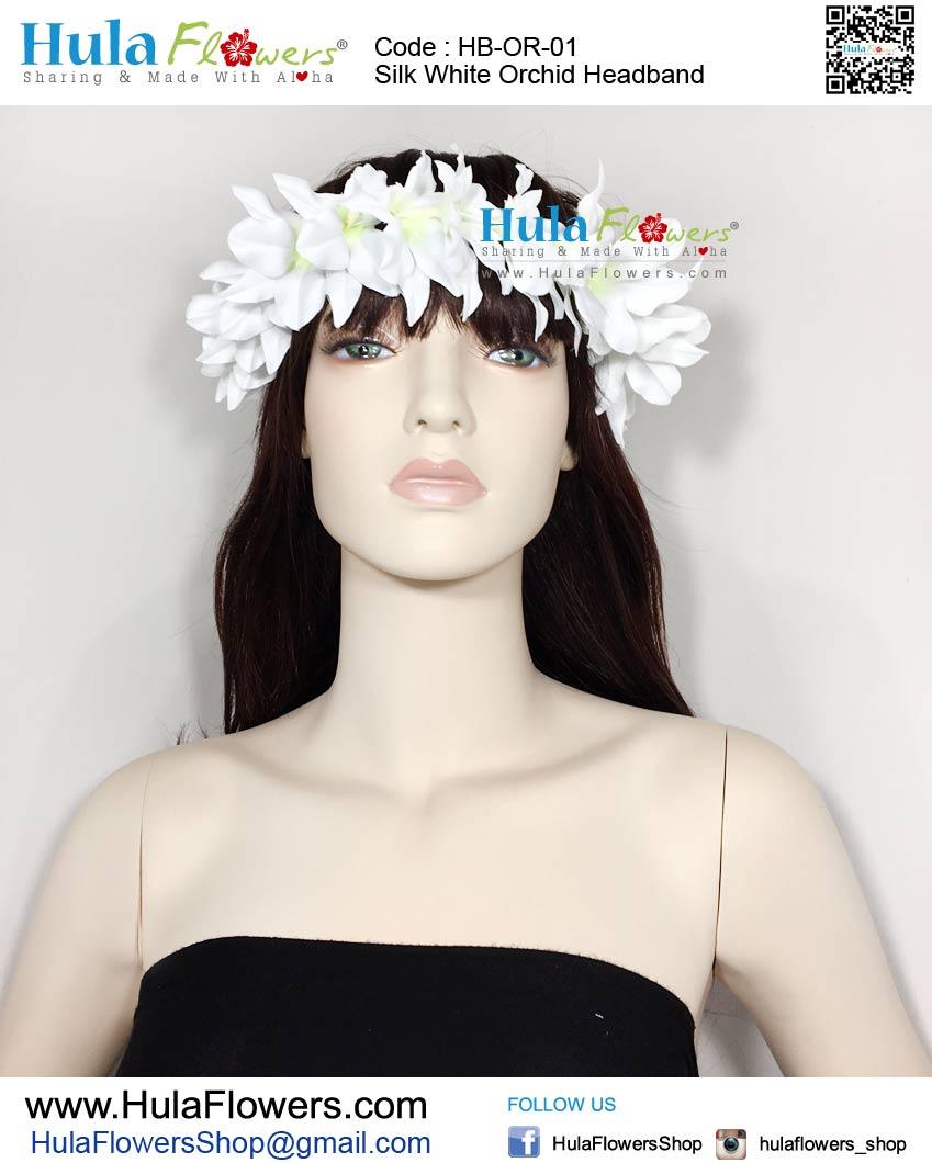 Silk White Orchid Headband Hulaflowers