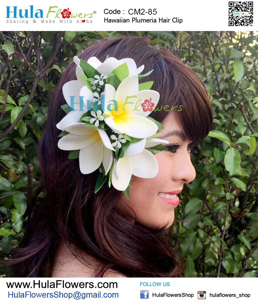 Hawaiian plumeria hair clip hulaflowers additional information izmirmasajfo