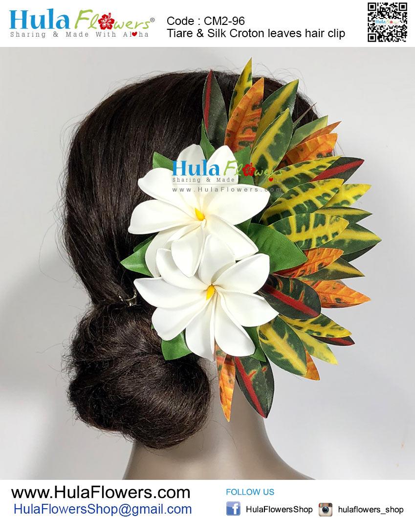 Tiare Silk Croton Leaves Hair Clip Hulaflowers